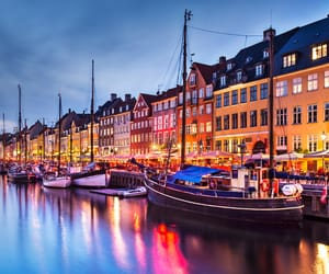 boat, denmark, and lights image