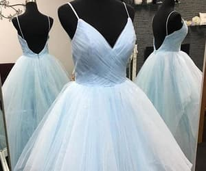 ball gown, prom dress, and light blue dress image