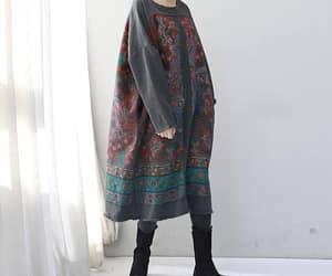 etsy, gray dress, and cotton dress image