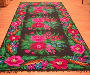 home decor, floral rug, and antique rose kilim image