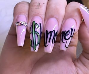 acrylics, nail art, and pink image