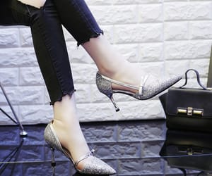 bow, sequins, and stiletto heels image