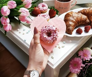 donut, flowers, and heart image