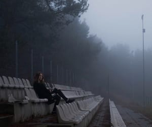 fog, girl, and loneliness image