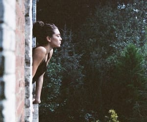 girl, nature, and window image