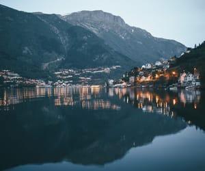 mountains, light, and lake image