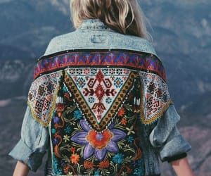 colors, denim, and flower image