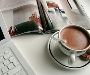 coffee, magazine, and chocolate image