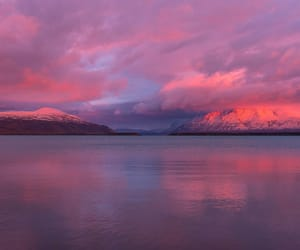 mountain, sea, and sunset image