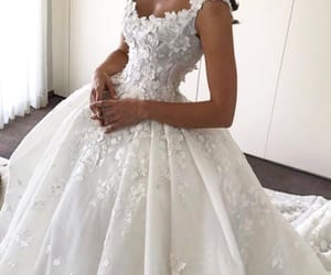 wedding dress, beautiful, and dress image