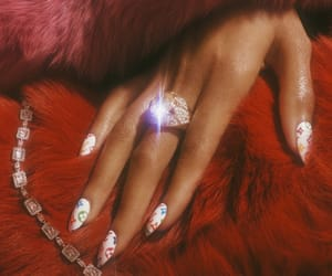 red, nails, and diamond image