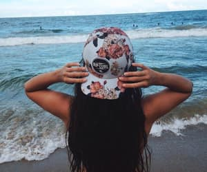 beach, girl, and rip curl image