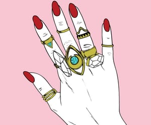 pink, rings, and hand image