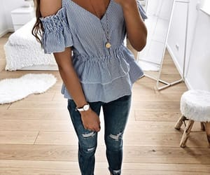blue and white, jewerly, and fashion image