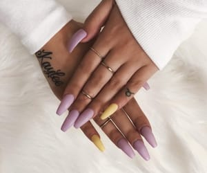 nails, purple, and tattoo image