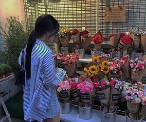 flowers, girl, and korean image