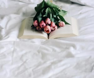 bedroom, books, and flowers image