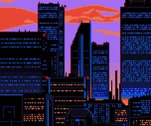 city, pixel, and purple image
