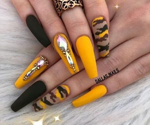 nails, acrylic, and yellow image