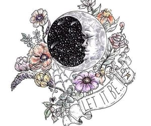 flowers, moon, and stars image