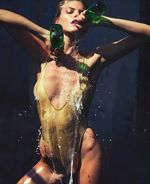 martha hunt, bottle, and model image