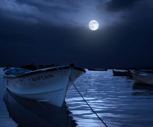 boat, moon, and blue image
