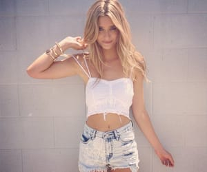 blonde, shorts, and top image