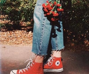 red, converse, and flowers image