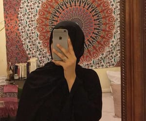 hijab, mirror, and selfie image