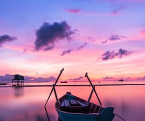 pink, boat, and blue image