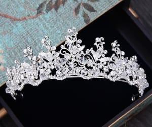 rhinestone, bridal hair accessories, and silver tiara image