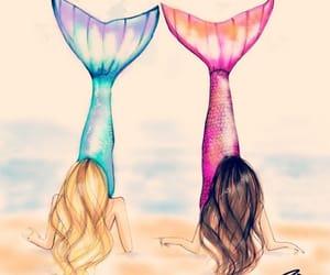 beach, friendship, and mermaids image