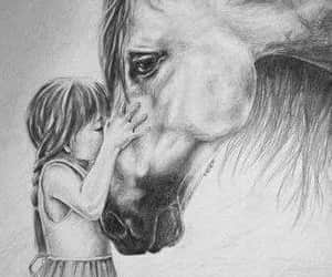 b&w, horse, and girl image