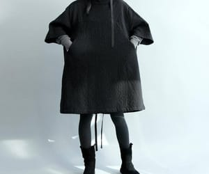 black dress, maternity clothes, and long coat image