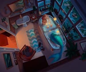 art, gif, and mermaid image