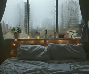 rain, bed, and light image