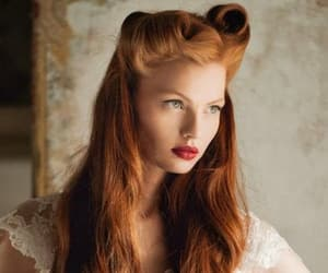 girls, hairstyle, and red hair image