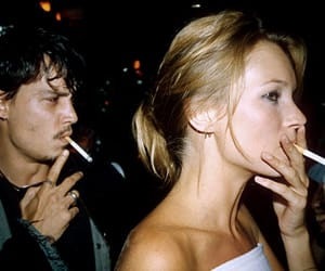 kate moss, johnny depp, and cigarette image