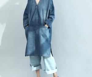 blue dress, long dress, and jean dress image