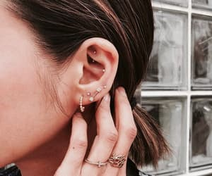 ear, gold, and Piercings image