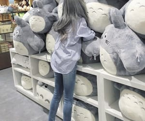 girl, totoro, and toys image