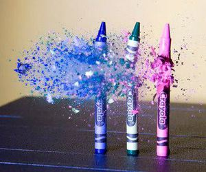 crayon, blue, and pink image
