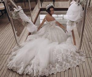bride, bridesmaids, and dress image