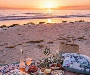 beach, picnic, and sun image