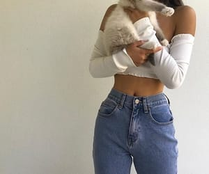 cat, girl, and jeans image
