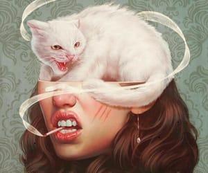 art, cat, and smoke image