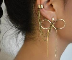 earrings, gold, and bow image