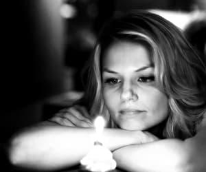 black and white, candle, and Jennifer Morrison image
