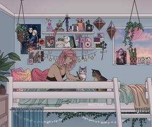 room, girl, and plants image