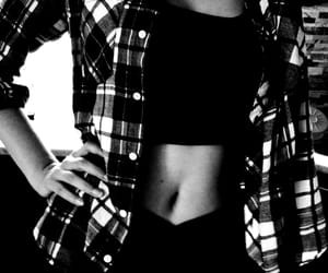 black, fit, and flannel shirt image